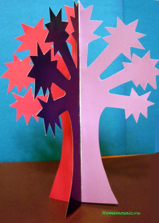 Дерево из бумаги своими руками для детей из руки 8