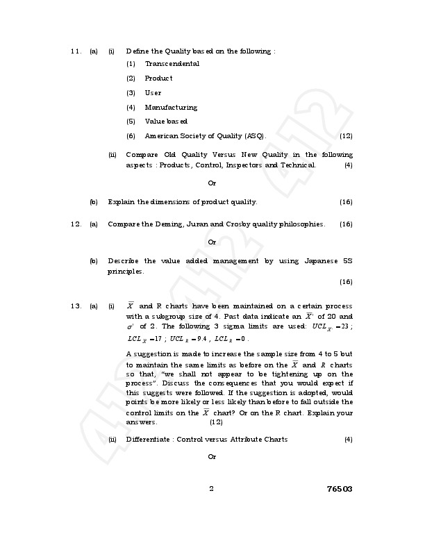 total quality management anna university question papers 2013