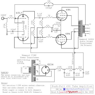 Hammond       Transformers    6V6 PushPull Tube Amplifier    Circuit