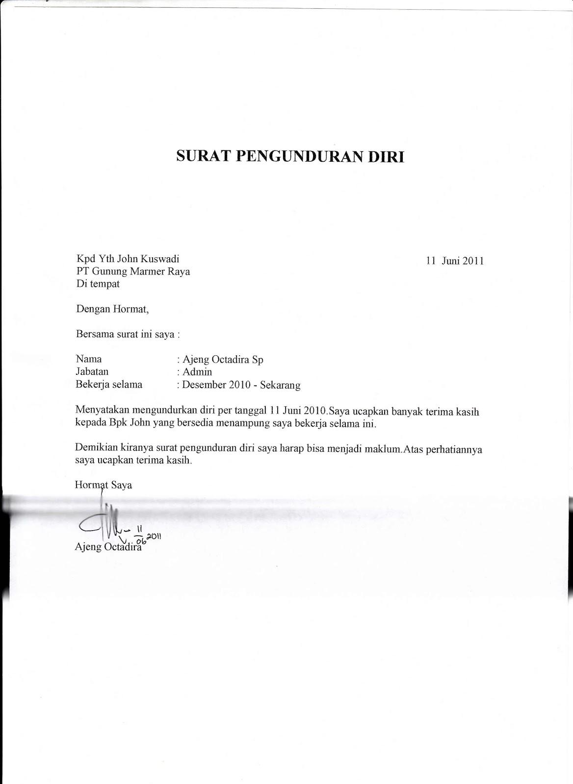 Contoh Surat Pengunduran Diri Resign Letter