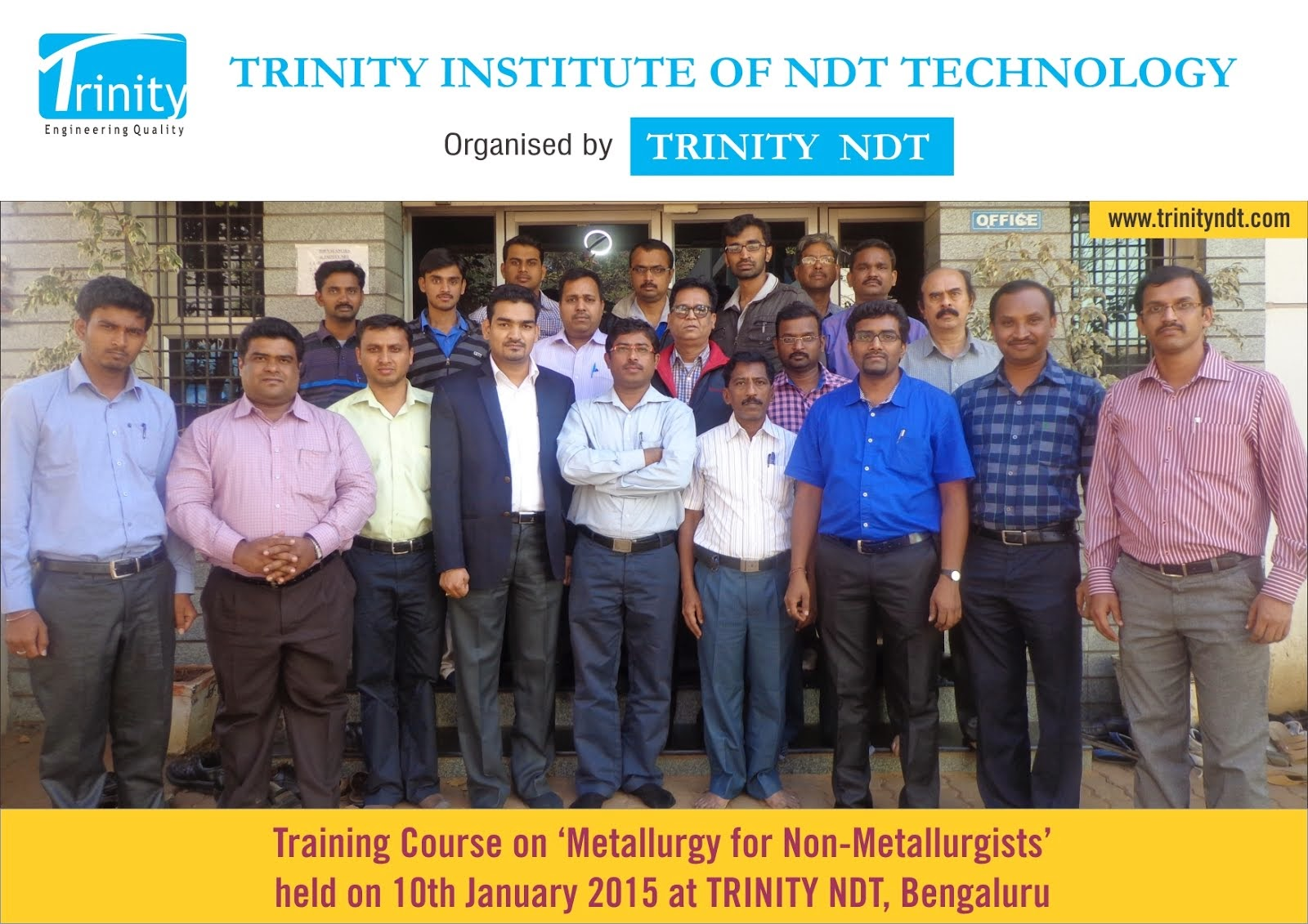 Recently held course on Metallurgy for Non metallurgists on 10th Jan 2015 at Bengaluru - India