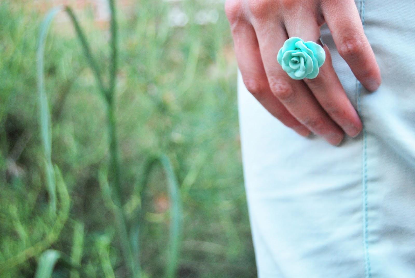 anillo arcilla polimerica verde mint