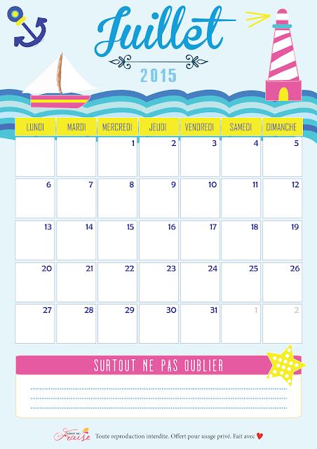 calendrier diy juillet 2015 free printable