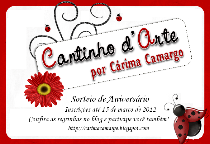 Sorteio no blog Cantinho d´a Arte