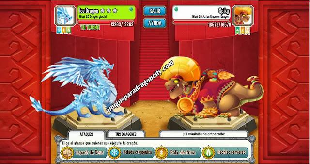 imagen de la batalla contra el dragon emperador azteca