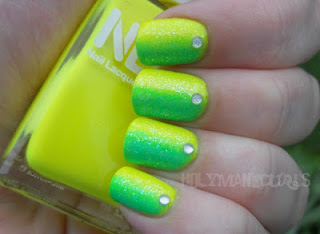 lime sideways gradient Holy Manicures feature Friday neon yellow green bling gems glitter
