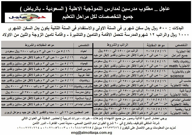 الان .. مطلوب مدرسين لمدارس النموذجية الاهلية بالسعودية - الرياض برواتب ومزايا كبيرة