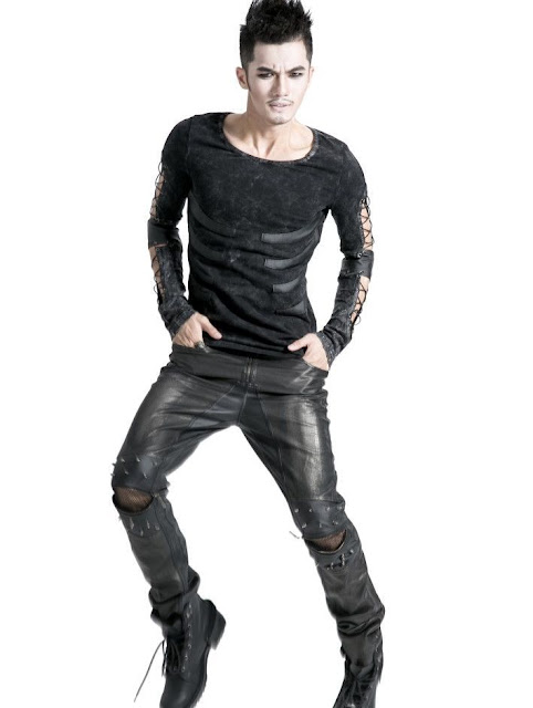 Black Decadent Gothic Punk Leather Pants for Men