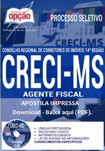 Apostila Impressa: CRECI/MS 14ª Região - Agente Fiscal (Vídeo-aula Grátis) CRECI-MS