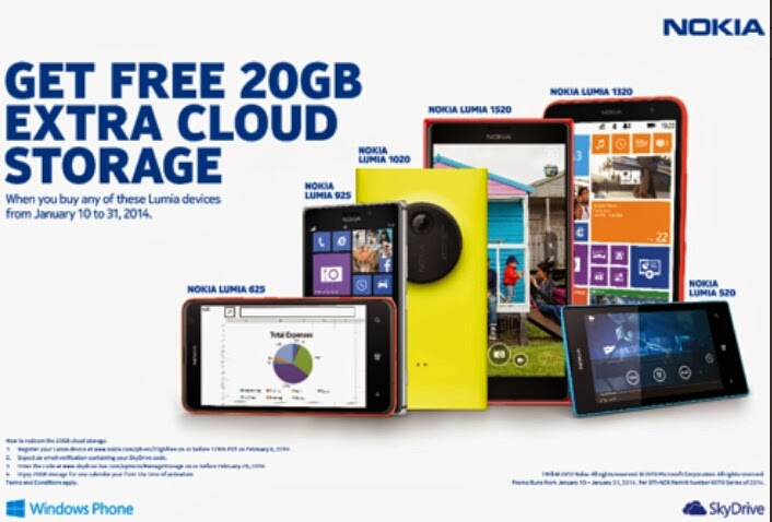 free 20gb storage nokia lumia skydrive