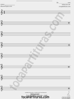 Partituras de Pentagramas para escribir en Blanco de Clave de Sol, Do, y Fa, para escribir tus partituras a mano Partituras sin compases listas para imprimir