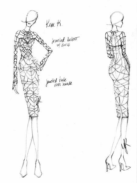 kim kardashian wedding dress sketch 02