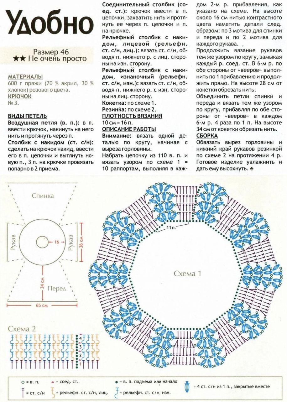 Схема реглана крючком для кардигана