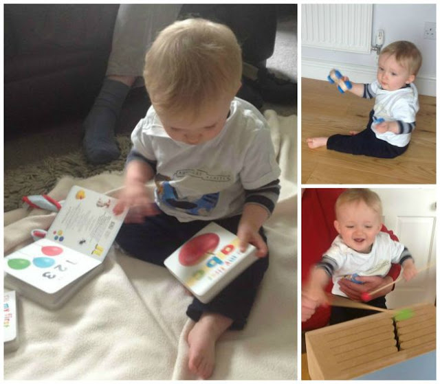 collage. Baby with book. baby hitting slit drum with sticks. Baby holding toy car.