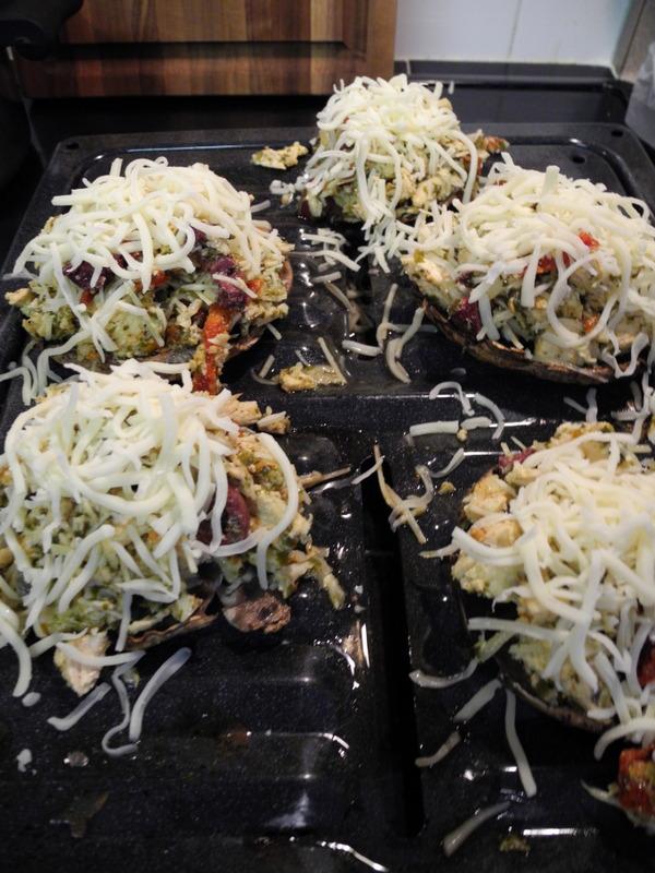 Chicken Pesto Stuffed Portabello Mushrooms With Steamed Artichokes