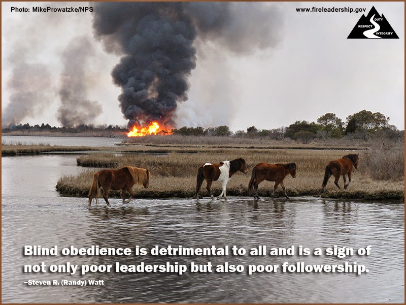 """Blind obedience is detrimental to all and is a sign of not only poor leadership but also poor followership."" ~ Steven R. (Randy) Watt"