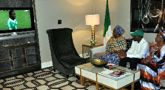 president jonathan watching afcon 2013