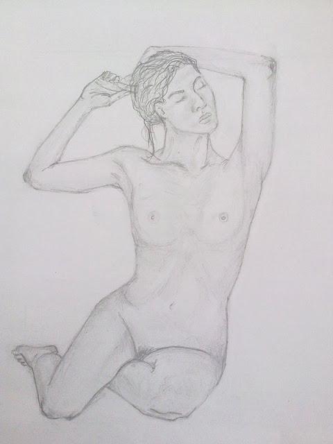 desnudo femenino de frente a lapiz