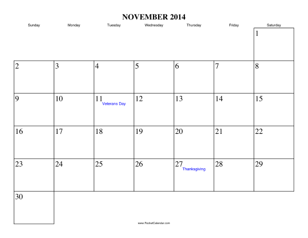 November Calendar 2014 Printable