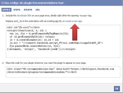 Adicionar barra de recomendações do Facebook