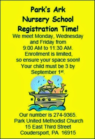 Registration Time Park's Ark Nursery School