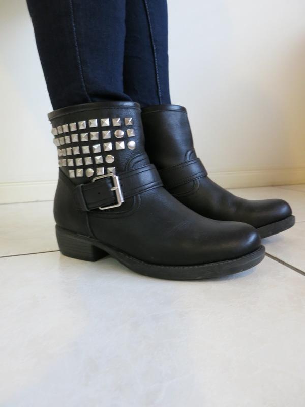 Black, silver embellished boots
