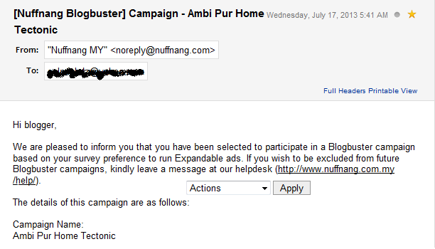 1st Nuffnang's Blogbuster Campaigns !