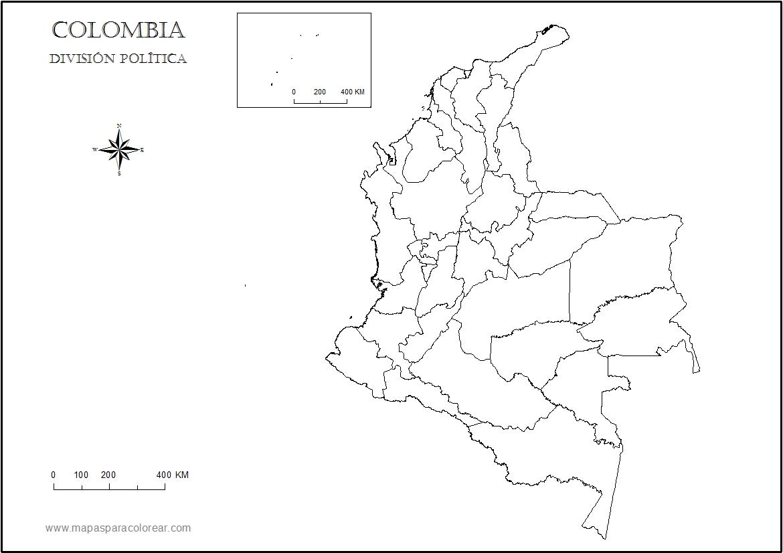 Mapas de Colombia: Mapa político de Colombia para colorear