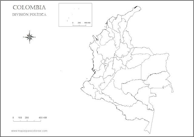 mapa político de Colombia para colorear