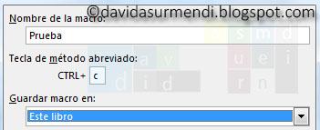 Método abreviado para ejecuta la Macro con el teclado
