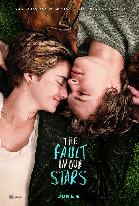 "Image description: Movie poster of the movie ""The Fault in Our Stars"" it features the two main characters lying on the ground with their eyes closed."
