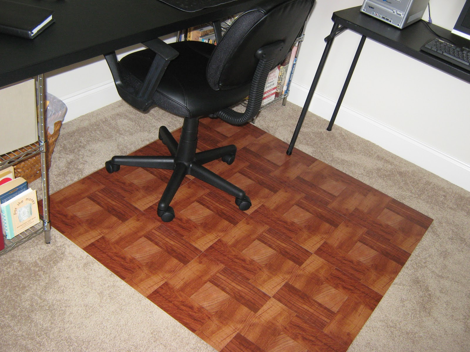 "Carpet Mat For Desk Chair fake-it frugal: diy ""wooden"" office chair mat"