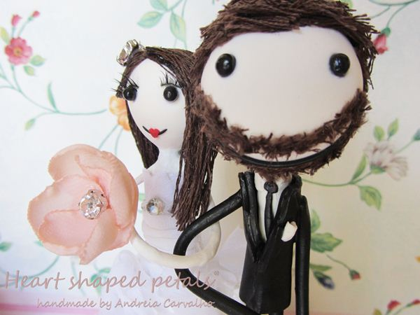 Cute wedding cake topper bride and groom
