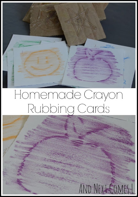 Homemade crayon rubbing cards and busy bag from And Next Comes L