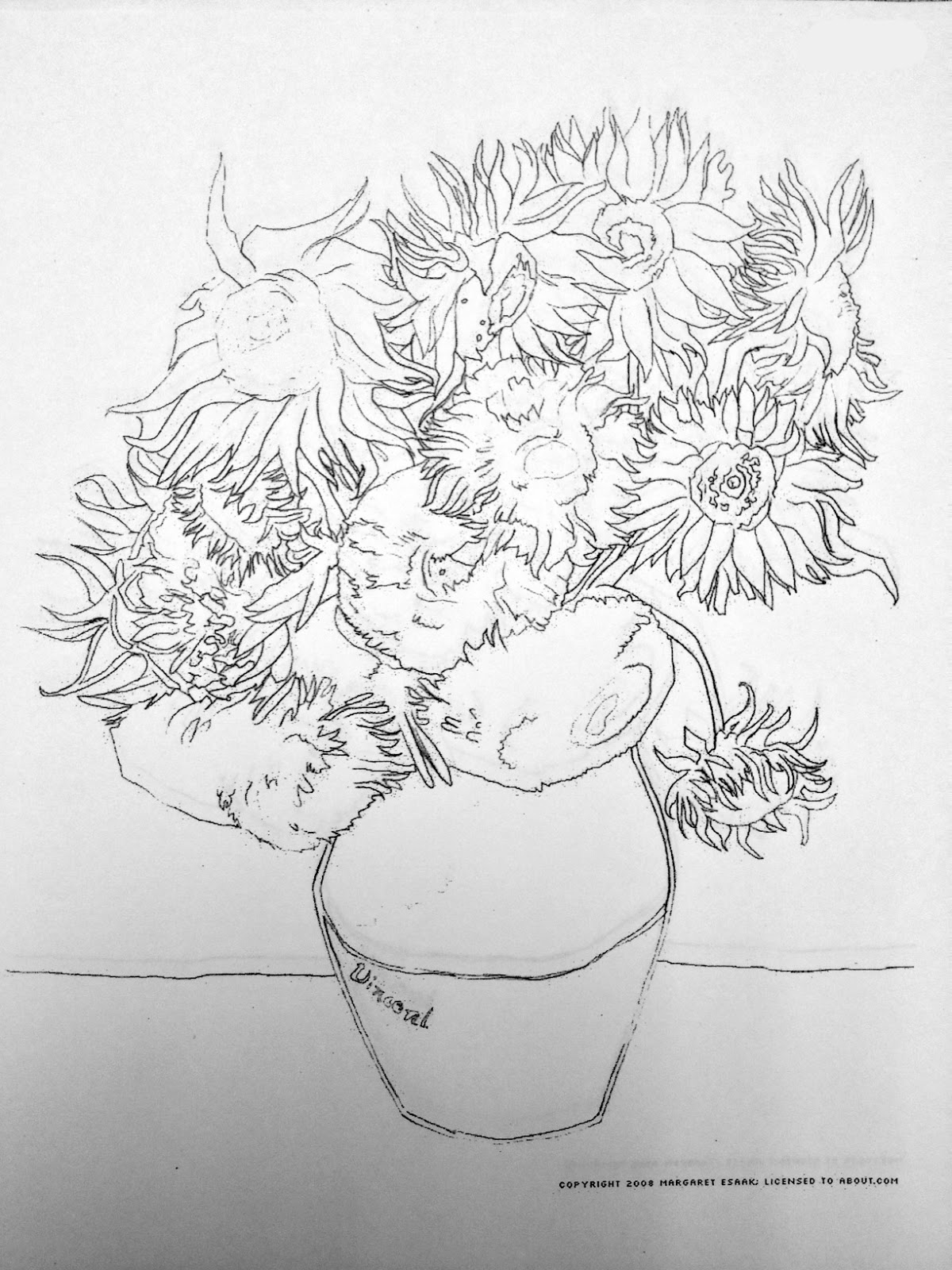 van gogh coloring pages sunflowers