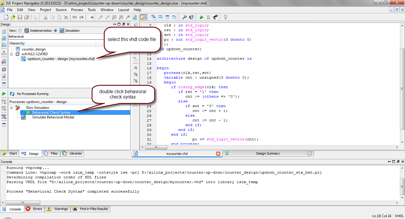 how to simulate vhdl code in xilinx?13