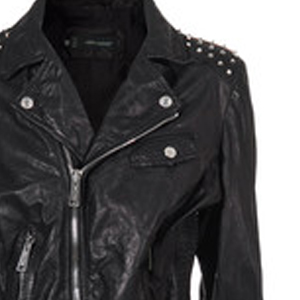 Gold Studs - black leather jacket