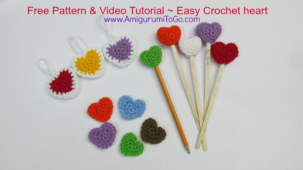 amigurumi hearts on a stick and crochet pencil topper
