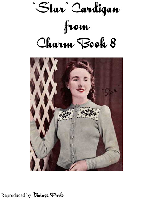 Free 1940's Knitting - Charm Star Cardigan Pattern
