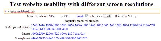 testar site em outras resoluções tela