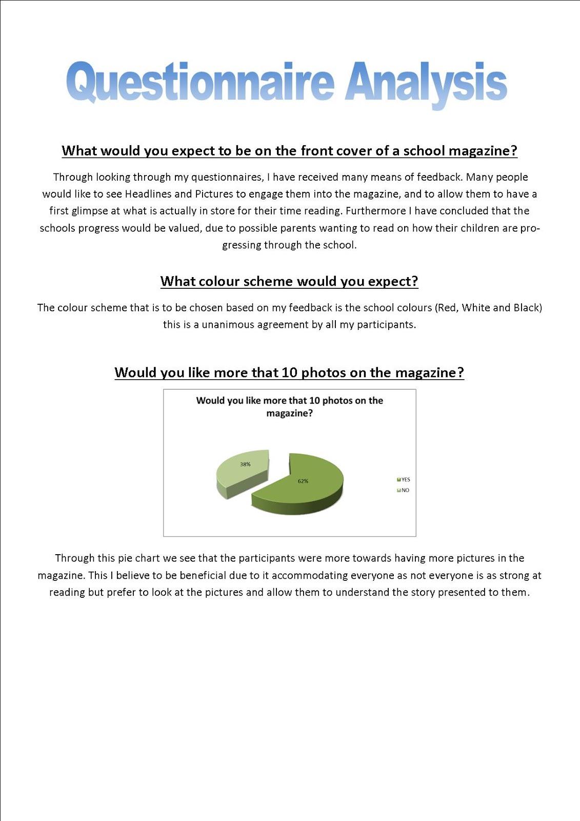 Josh Vile AS Media: Magazine Questionnaire Analysis