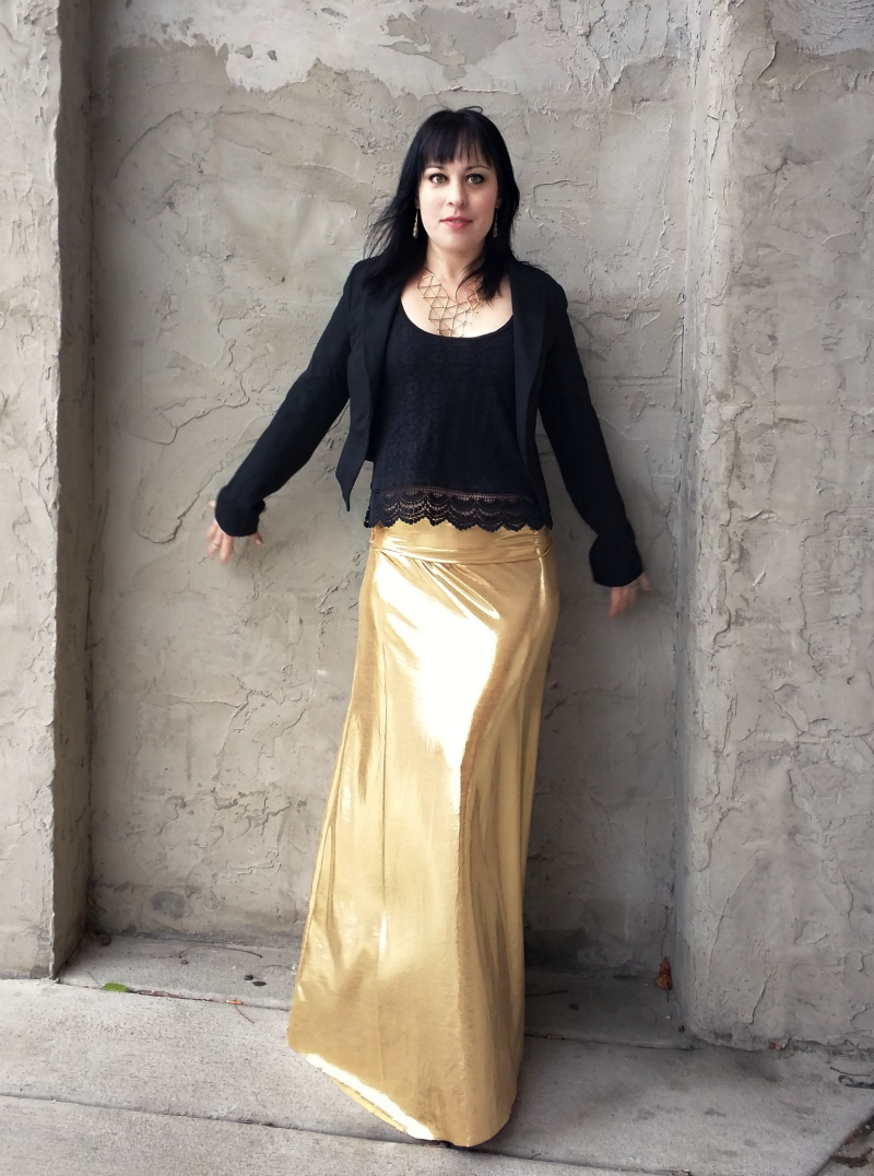 Domestic Bliss Squared: Diy holiday party style: Gold metallic maxi ...