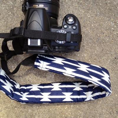 DIY Camera Strap Cover made with April Rhodes' Arizona Tomahawk Stripe