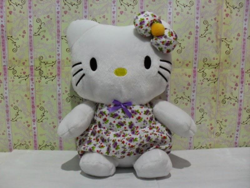 Gambar boneka hello kitty dress batik ungu cantik dan lucu