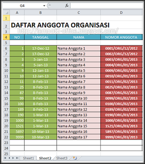 Microsoft Excel 2010 - Membuat Nomor Anggota di MS Excel