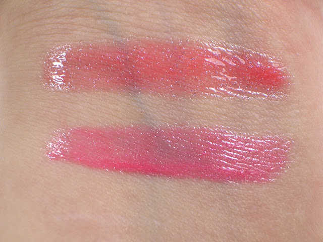 Chanel Friandise 82 Aqualumière Gloss (top)/Guerlain Coral Wizz 440 Gloss d'Enfer Maxi Shine (bottom) Swatches in indoor lighting