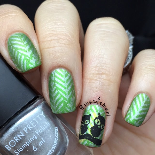 green leaves cute owl mani bornprettystore bp54