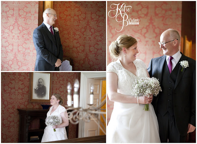 bride and father, bride and dad, charlotte balbier wedding dress, ellingham hall, ellingham hall wedding, northumberland wedding photographer, newcastle wedding photographer, ceremony signs, paper pom poms, quirky wedding photography, katie byram photography, diy wedding
