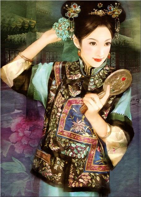 pintura chinesa no espelho