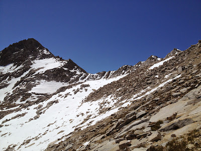 Heading up Arrow Peak via the pass